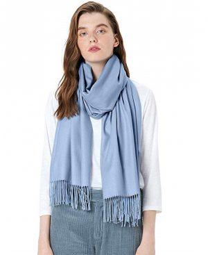 blauwe dames sjaal - sjaal vrouwen - wintersjaal