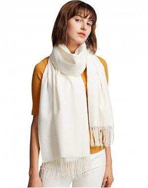 witte dames sjaal - lange sjaal - wintersjaal