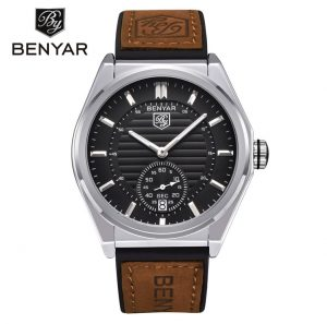 Benyar Herenhorloge - Leren Band - Chronowatch