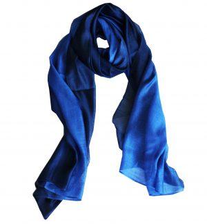 Zijde Blend Sjaal - Lange Dames Sjaal - Blauw