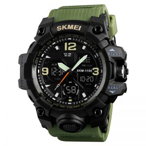 Sporthorloge - Dual Time - Chronograaf - Army Green