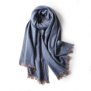 Luxe Dames Sjaal - Zachte Sjaal - Stiksels - Blauw - 200cm