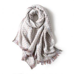 Luxe Dames Sjaal - Zachte Sjaal - Stiksels - Wit - 200cm