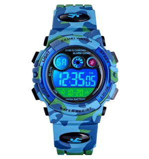 Kinderhorloge - Chronograaf - Waterdicht - Sports Watch Kids - Camouflage Blue