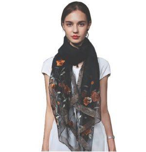 Zijde Wol Sjaal - Geborduurd - Bloemen - Zwart