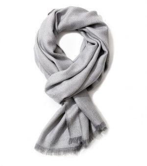 Wollen Heren Sjaal – 100% Wol - 187cm - Silver Edition
