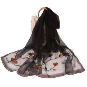 Dames Sjaal - Geborduurd - Bloemen - Zwart