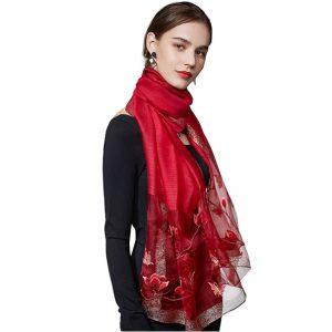 Dames Sjaal - Geborduurd - Bloemen - Rood