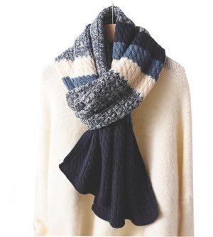 Gebreide Dames Sjaal - Wintersjaal - Blue & White