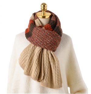 Gebreide Dames Sjaal - Wintersjaal - Orange & Brown