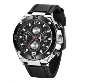 Herenhorloge - Chronograaf - Leren Band - Black