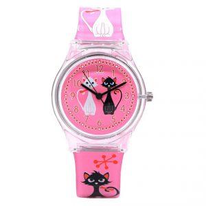 Kinderhorloge - Poezenhorloge - Roze Horloge