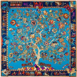 Zijdezachte Sjaal - Tree of Life - 130 x 130 cm