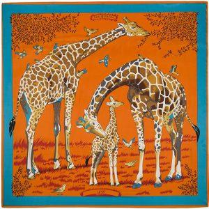 Zijdezachte Sjaal - Giraffes - 130 x 130 cm