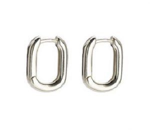 Zilveren Oorringen - Oorbellen Rechthoek - 15x10mm