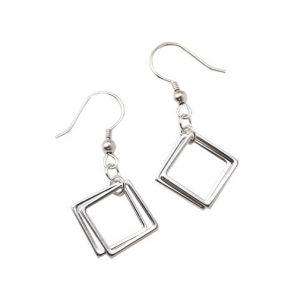 Zilveren Oorhangers - Vierkantjes - Oorbellen Zilver