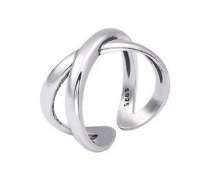 X Ring Zilver - Zilveren Ring Gekruist - Verstelbaar