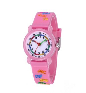 Alfabet Horloge Kids – Kinderhorloge – Giftbox - Roze