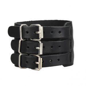 Extra Brede Armband - Leren Armband - Zwart