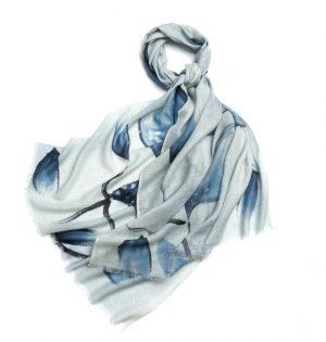 Wollen Sjaal Dames - Transparante Sjaal - Bloemenprint