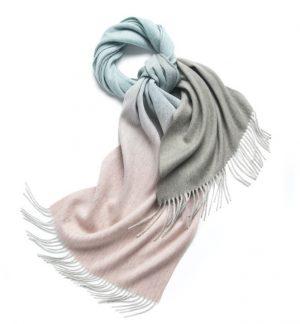 Wollen Sjaal Dames - Fading Colours Roze Mint Grijs