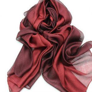 Zijde Blend Sjaal - Lange Dames Sjaal - Bordeaux Rood