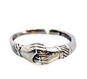 Zilveren ring - Verbonden Handen Ring - Verstelbaar
