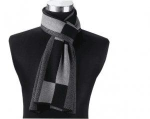 Katoenen Herensjaal - Shawl Mannen - Grey & Black