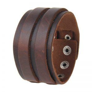 Leren Armband - Drukknopen - Bruin