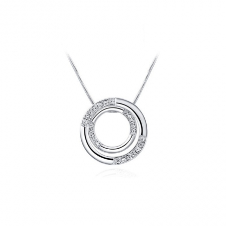 Halsketting - Twee Cirkels - Zirkonia