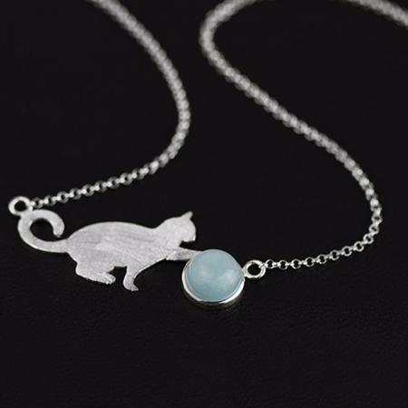Zilveren Ketting Kat met Aquamarijn