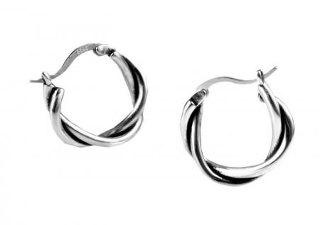 Gevlochten Zilveren Oorringen - Creolen Zilver