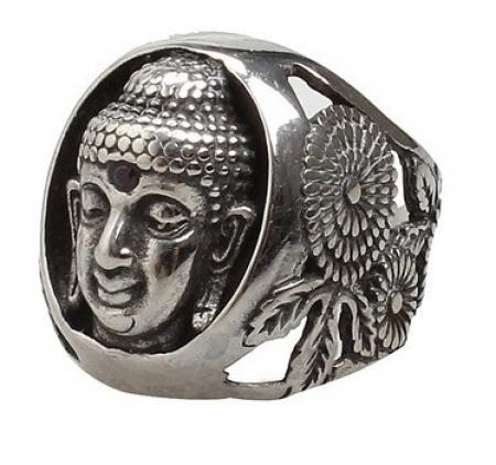 Brede Stalen Boeddha Ring