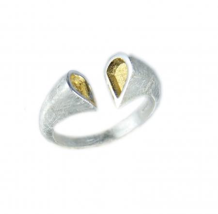 Zilveren Ring - Hart - Verguld