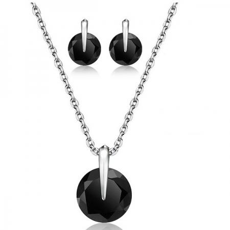 Sieraden Set - Ketting & Oorknoppen - Zwart Kristal