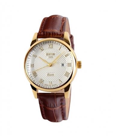 Dameshorloge - Golden Case Watch - Leren Band