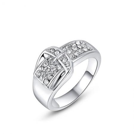 Wit Vergulde Ring - Gesp - Zirkonia