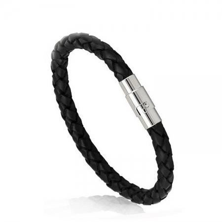 Zwarte Leren Mannen Armband