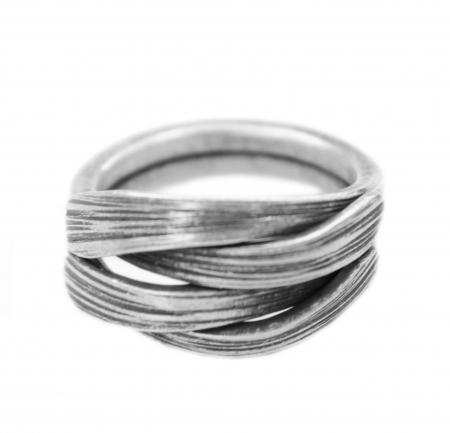 Vintage Ring - Sterling Zilver - Bamboeblad