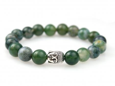 Natuursteen Armband Mosagaat - Boeddha
