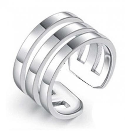One Size Zilveren Ring - Drie Banden