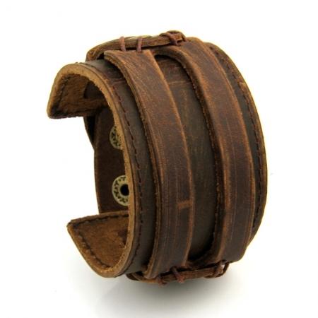 Brede Leren Armband - Twee Riemen - Scratch Brown