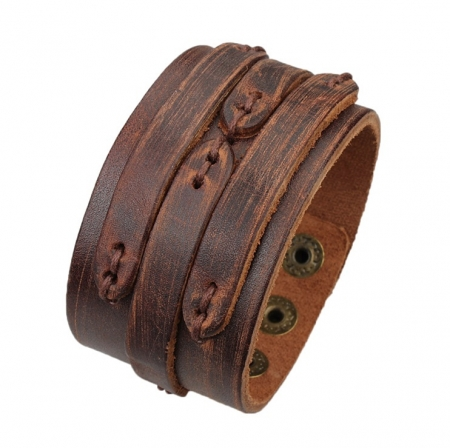 Robuuste Lederen Armband - Stiched - Scratch Brown