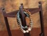 Natural Kralenarmband - Wood - Ceramic - Turquoise
