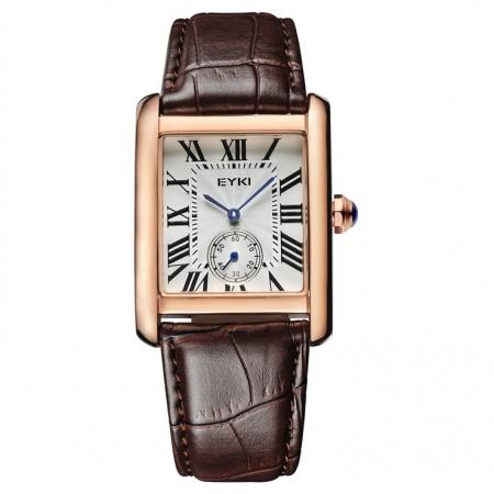 Klassiek Dames Horloge - Lederen Band - Goudkleurige Kast
