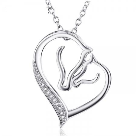 Paardenketting - Zilveren Ketting - Hart - Twee Paarden