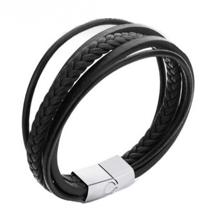 Zwarte Lederen Armband - Koordarmband