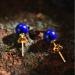 Zilveren Oorknoppen - Lapis Lazuli - Verguld