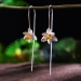 Lange Zilveren Oorbellen - Lotus Oorstekers