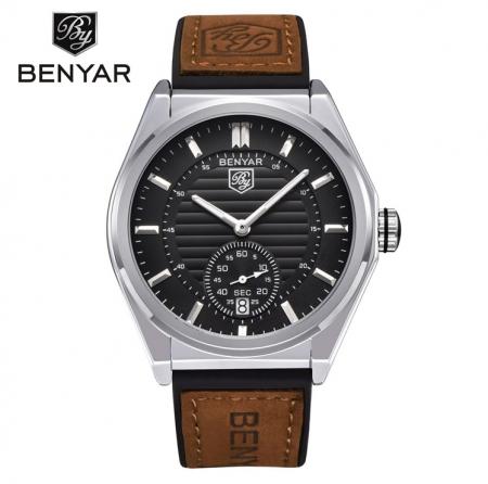 Benyar Herenhorloge - Leren Band - Chronowatch